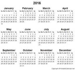 Free Printable Com Yearly Calendars 2016
