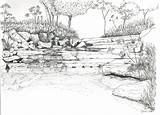 Coloring Landscape River Adults Detailed Sheets Printable Sketch Template Adult Scenery Landscapes Colouring Rivers Sketches Landscaping Coroflot Waterfall Scenic Prints sketch template
