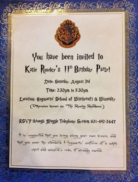harry potter invitation harry potter birthday invitations cimvitation