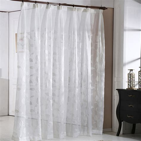105 Inch Sheer Curtains by Simple Style Leaf Pattern Decorative White Sheer Vertical