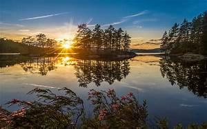 Norway, Nature, Sunset, Lake, Trees, Sun, Rays, Wallpaper