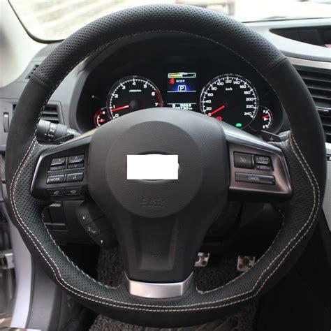 subaru forester steering wheel xuji black genuine leather suede steering wheel cover for