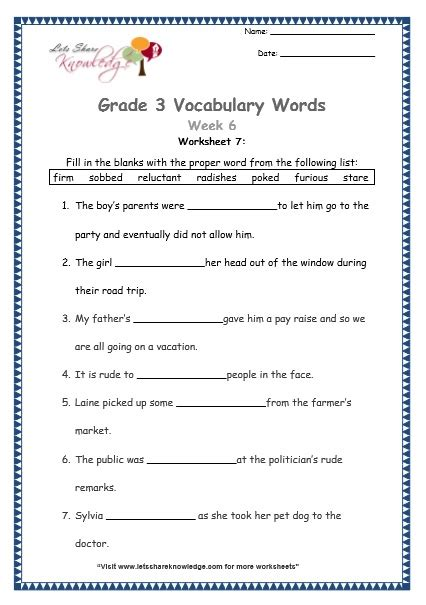 Grade 3 Vocabulary Worksheets Week 6  Lets Share Knowledge