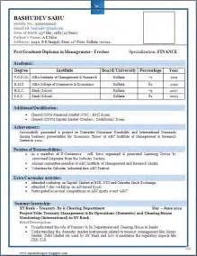 Resume Format For Fresher Download Pdf