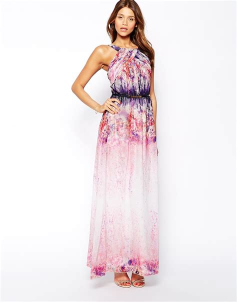maxi jersey flower maxi dress in ombre floral print in pink