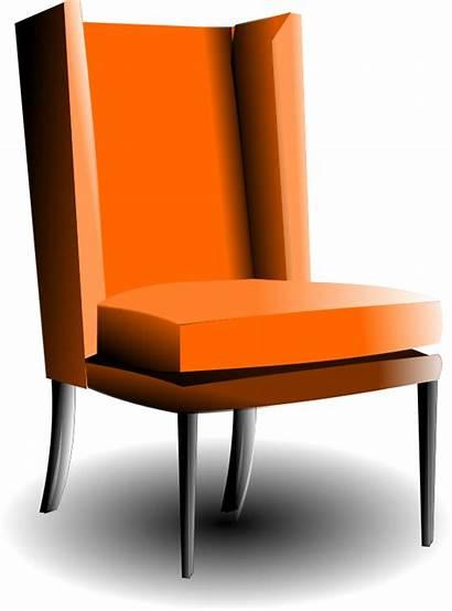 Chair Kursi Clipart Armchair Cartoon Fashioned Orange
