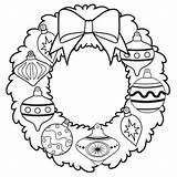 Coloring Wreath Christmas Pages Ornament Grinch sketch template