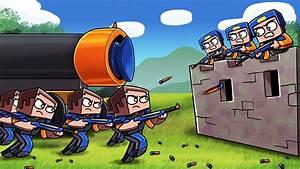 Minecraft NERF WAR BASE CHALLENGE Blue Vs Orange NERF
