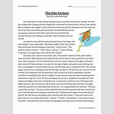 Reading Comprehension Worksheet  The Kite Contest