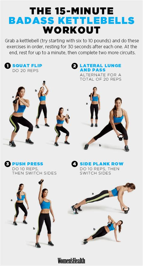 workouts kettlebell workout exercises exercise minute fitness health beginners sport womenshealthmag equipment