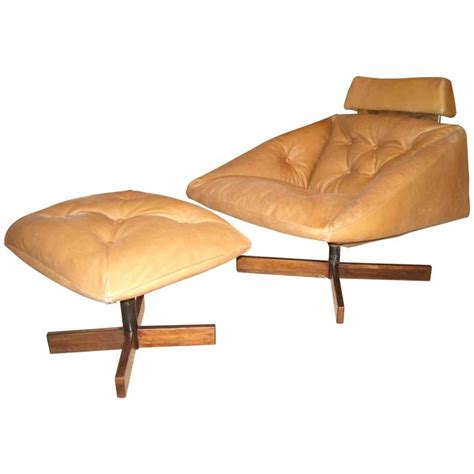percival lafer rocking lounge chair and ottoman leather