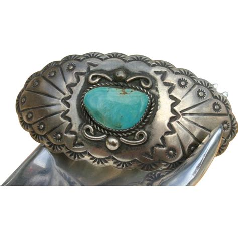 Amazing Native American Turquoise Sterling Silver Barrette