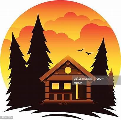 Cabin Illustrations Mountain Log Scene Vector Clip