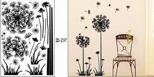 1 x black dandelion flower plant tree large removable wall With what kind of paint to use on kitchen cabinets for dandelion wall art stickers