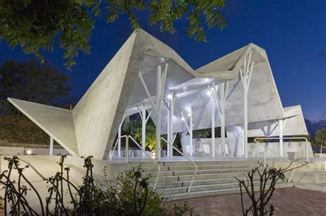 ron shenkin places concrete folded canopy  cemetery
