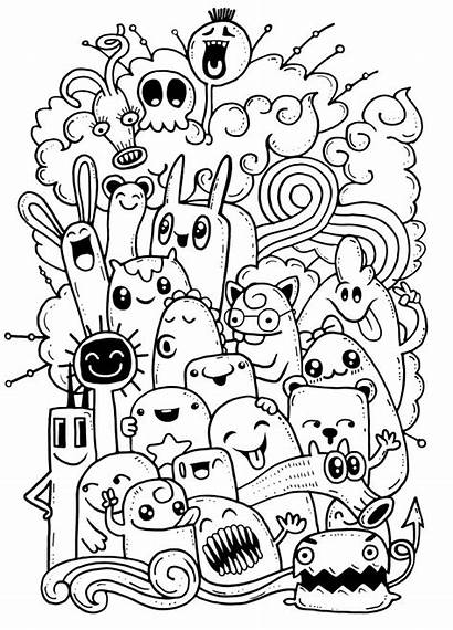 Doodle Monster Crazy Drawing Doodles Vector Hand