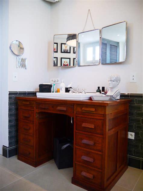 salle de bureau idée déco salle de bains rétro cagne avec un bureau