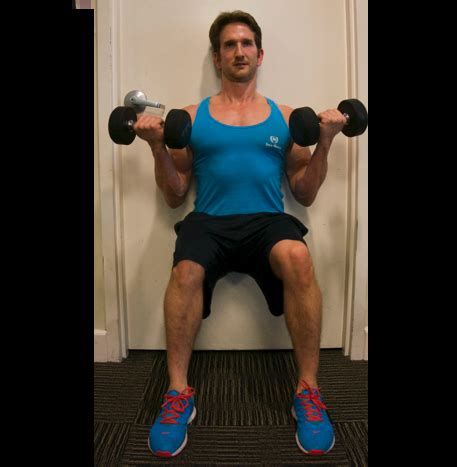 sit bicep curl wall isometric dumbbell exercises body