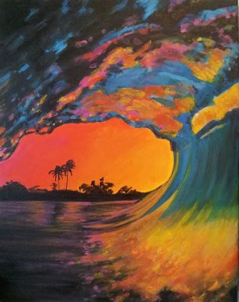 Original Acrylic Painting Pink Wave By Karlinmeehanstudios