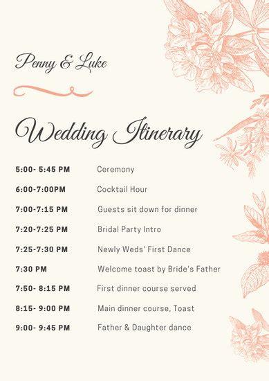 customize  wedding program templates  canva