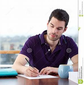 Young Man Writing A Letter Stock Photography - Image: 21489182