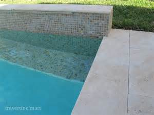 ivory travertine pool coping and deck tiles modern