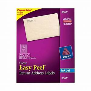 avery 8667 clear easy peel return address labels 1 2 x 1 With clear printed return address labels