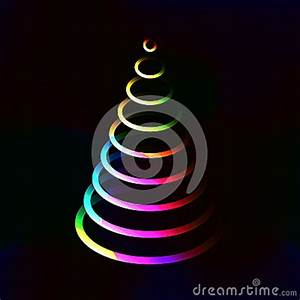 Neon Color Lights Shining Christmas Tree Made From Circle