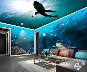 Poster Mural Grand Format : 3d sharks shadow underwater entire room wallpaper wall ~ Carolinahurricanesstore.com Idées de Décoration