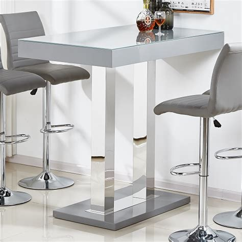 4 room flat floor caprice glass bar table in grey high gloss and stainless