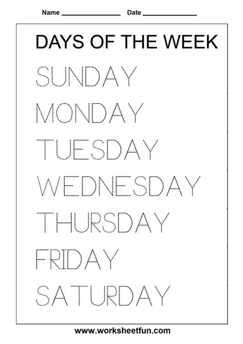 printables days   week activities
