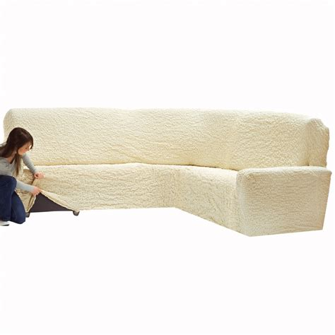 housse de canapé d angle extensible housse gaufrée bi extensible canapé d 39 angle blancheporte