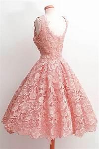 Romantique robe courte en dentelle rose de bal jmrougefr for Robe romantique dentelle