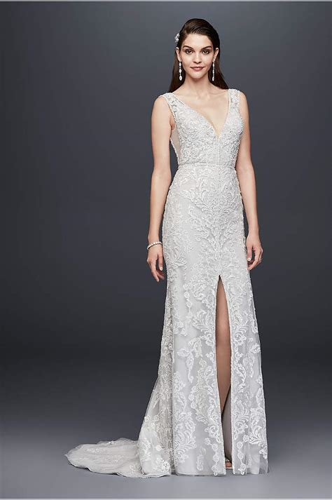 beaded lace trumpet wedding dress davids bridal