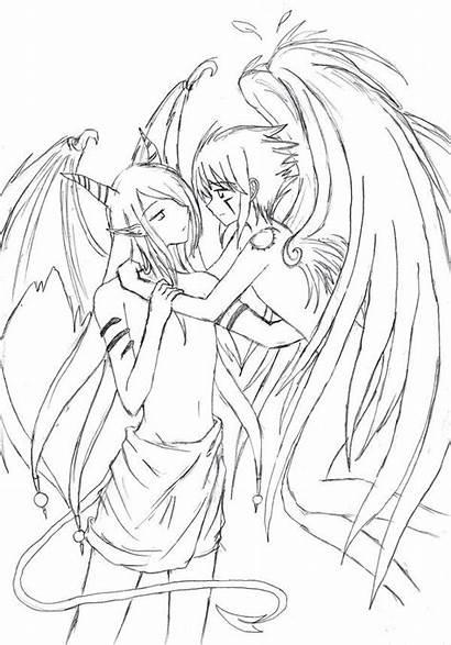 Angel Devil Coloring Anime Demon Ausmalbilder Drawing