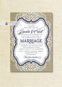 lace burlap wedding invitation shabby chic royal blue navy With royal blue rustic wedding invitations