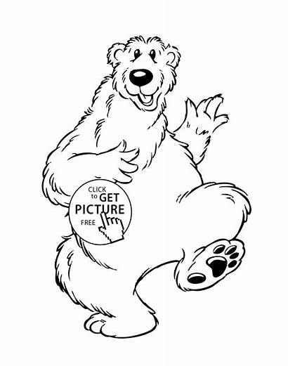 Coloring Bear Funny Cartoon Pages Animals Printable