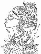 Coloring Pages Afro African Queen Printable Getcolorings Colorings sketch template