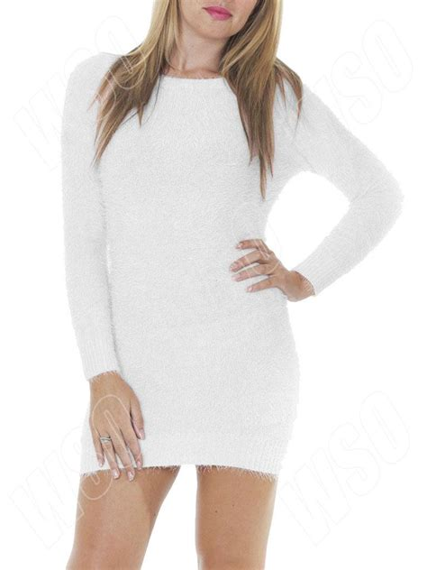 Boat Neck Jumper Dress by New Womens Winter Fluffy Boat Neck Jumper