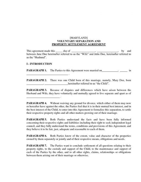 maryland marriage separation agreement form mbm legal