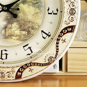 Round, Wall, Clock, 14, Inch, Wooden, Analog, Unique, Modern, Silent, Hanging