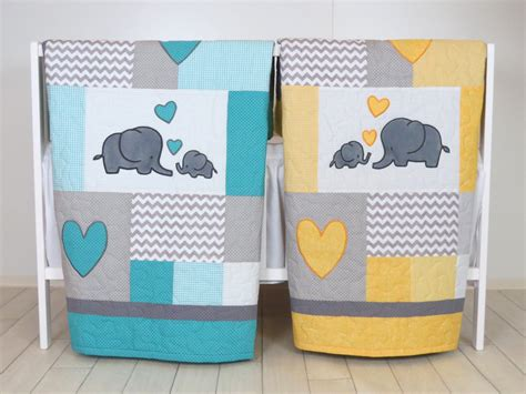 Twin Baby Quilts , Elephant Crib Bedding, Turquoise Blue