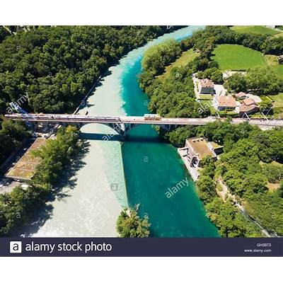 Aerial view of Arve an Rhone river confluent in Geneva