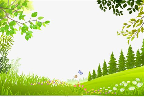 Cartoon Trees Plants Green Grass Background Material
