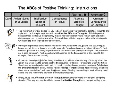 images  positive thinking worksheets printable