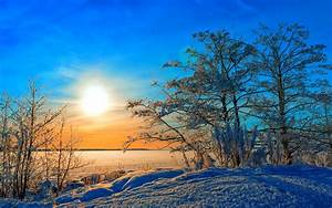 Winter, trees, snow, sunset, blue sky wallpaper | nature ...