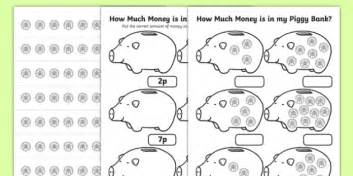 how much money is in my piggy bank 1p worksheet maths