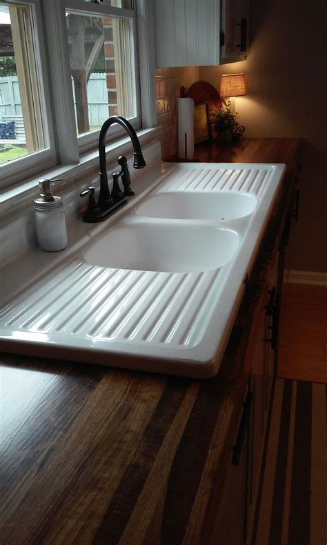 recycled kitchen sinks finished our wooden countertops and installed our 65 yr 1760