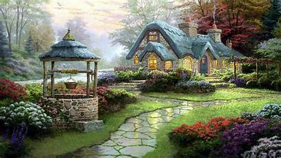 Oil Painting Cottage Wallpapers Pc Allwallpaper