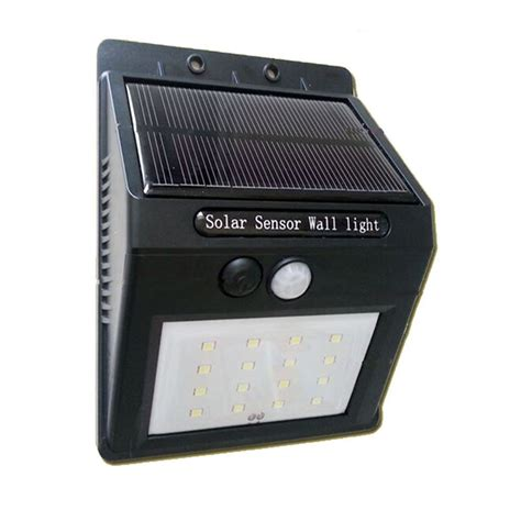 16 led rechargeable solar power panel wall l pir motion